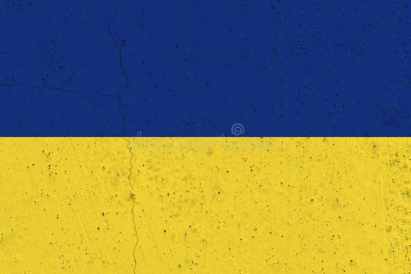 Ukraina flaga na betonowej ścianie obraz stock