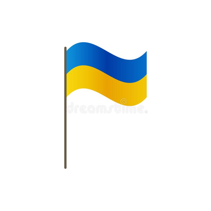 Ukraina flaga na flagpole Urzędnik proporcja prawidłowo i Falowanie Ukraina flaga na flagpole, wektorowa ilustracja jest ilustracji