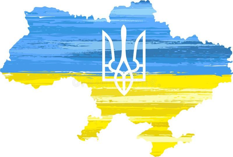Ukraina flaga z farby muśnięcia uderzeniami ilustracji
