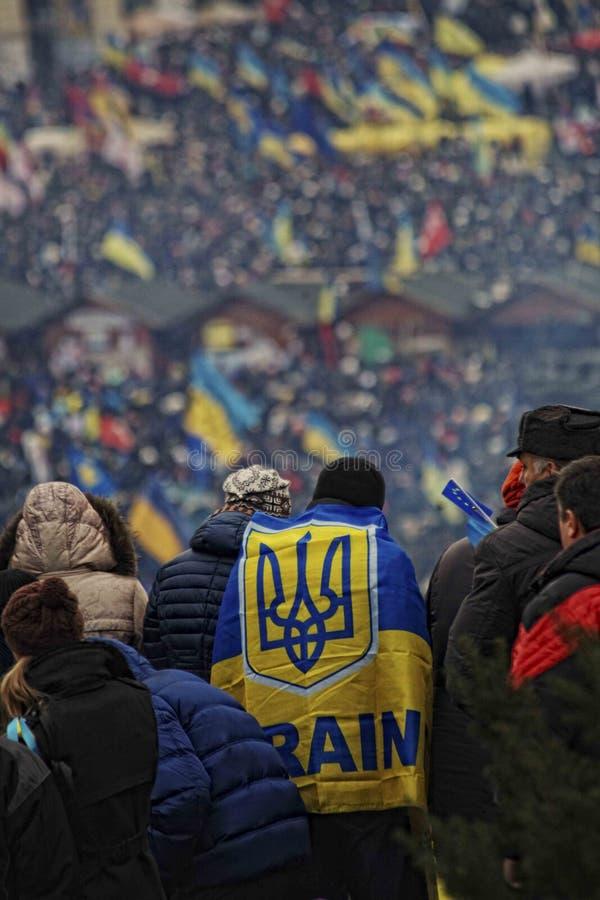 Ukraina flagga i massmanifestation arkivbilder