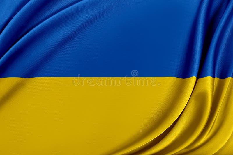 Ukraina flagga med en glansig siden- textur vektor illustrationer