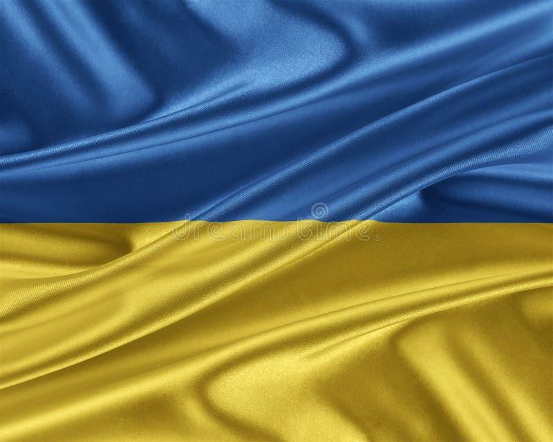 Ukraina flagga med en glansig siden- textur stock illustrationer
