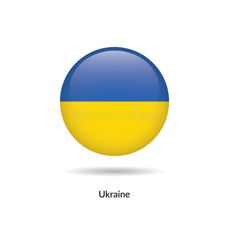 Ukraina flagga - runt glansigt vektor illustrationer