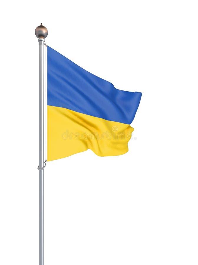 Ukraina flagga som bl?ser i vinden f?nster f?r textur f?r bakgrundsdetalj tr?gammalt tolkning 3d; v?g Isolerat p? vit illustratio vektor illustrationer