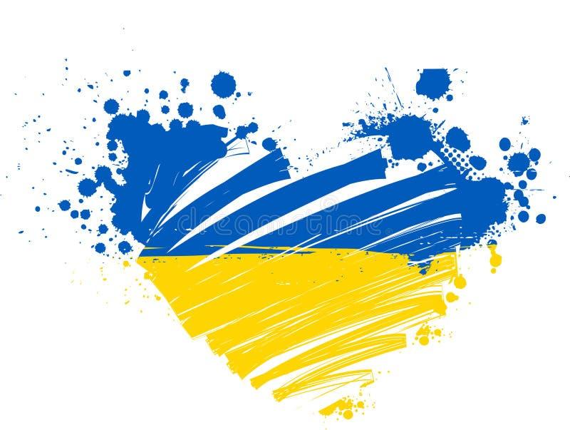Ukraina grunge flaga serce ilustracji