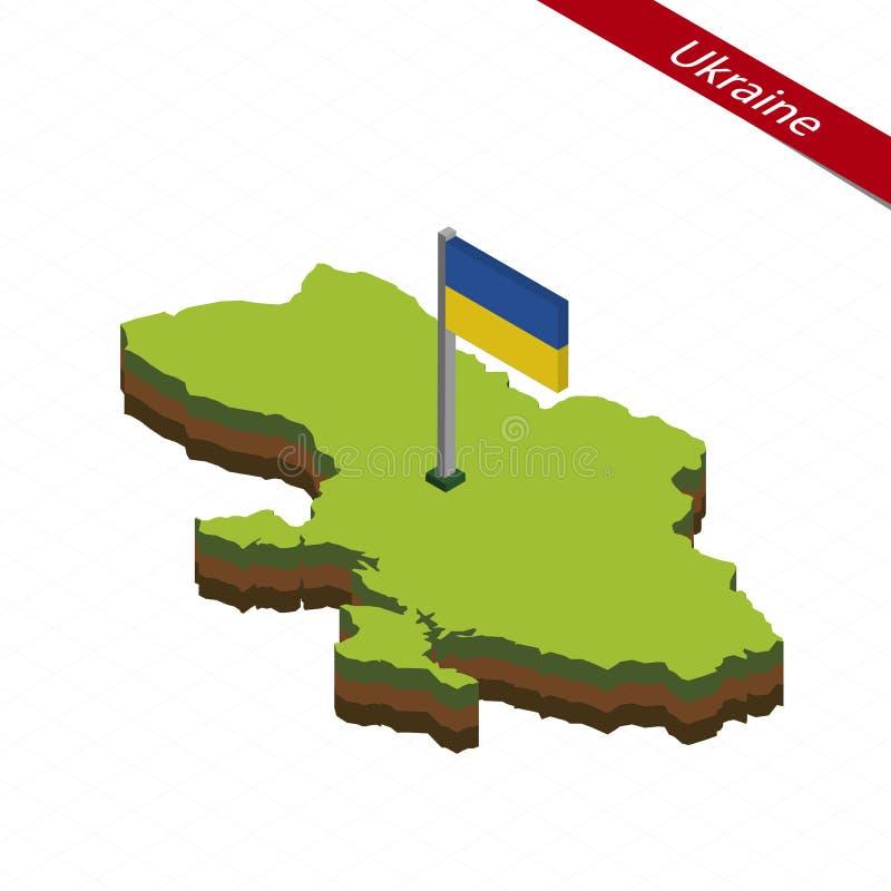 Ukraina isometrisk översikt och flagga också vektor för coreldrawillustration vektor illustrationer