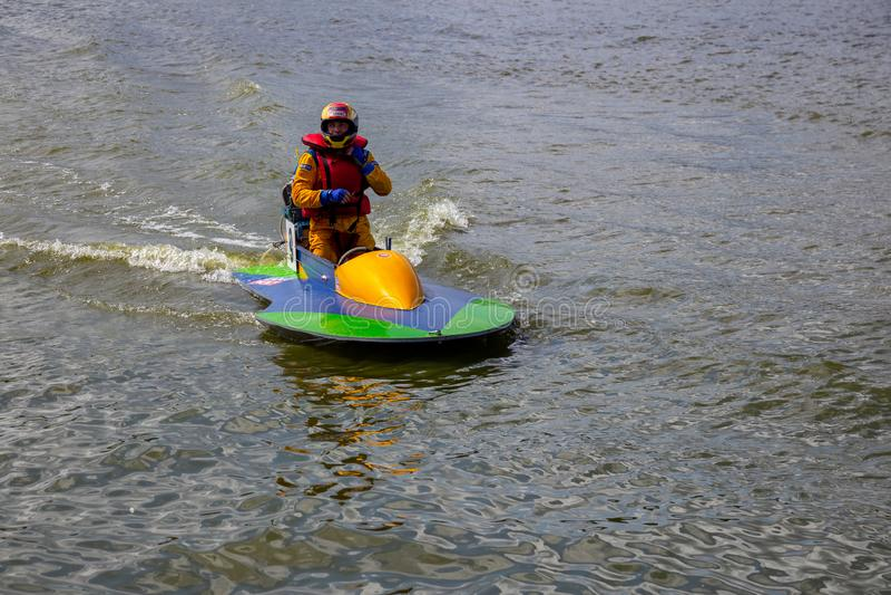 Ukraina Khmelnitsky Sierpień 4, 2019 - europejczyk Motorowej łodzi Otwarty mistrzostwo zdjęcie stock