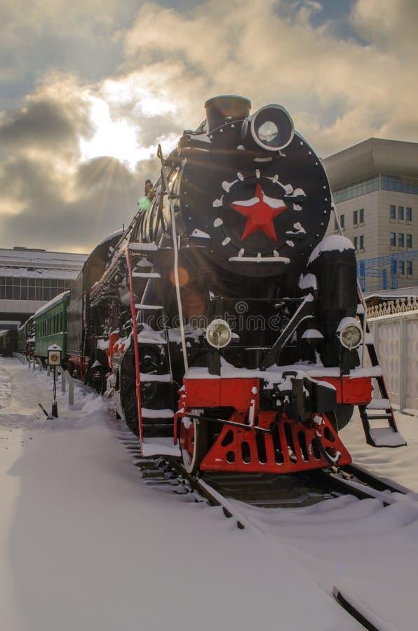 Ukraina Kiev, Januari 24, 2019 Järnväg museum royaltyfri fotografi