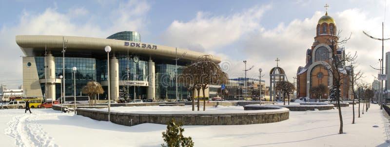 Ukraina Kiev, Januari 24, 2019 Kiev södra järnvägsstation
