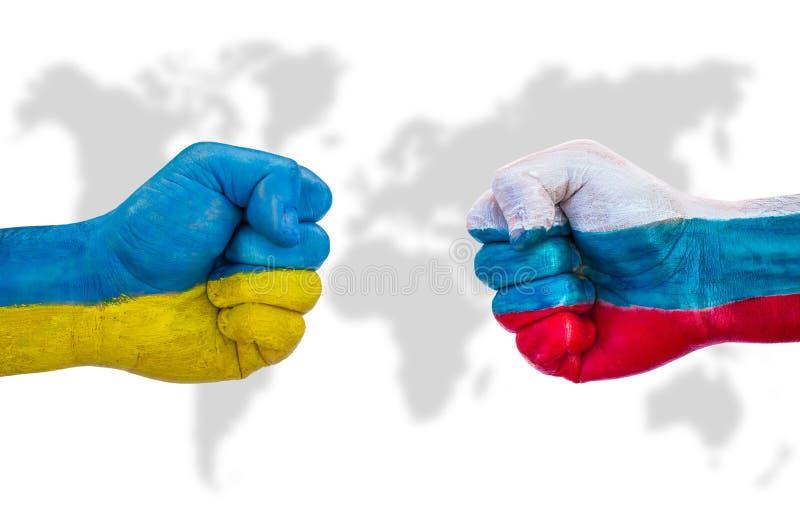 Ukraina kontra Ryssland royaltyfria foton
