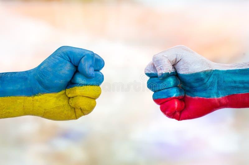 Ukraina kontra Ryssland royaltyfria bilder