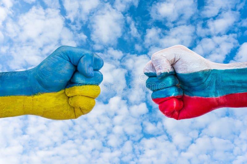 Ukraina kontra Ryssland arkivfoton