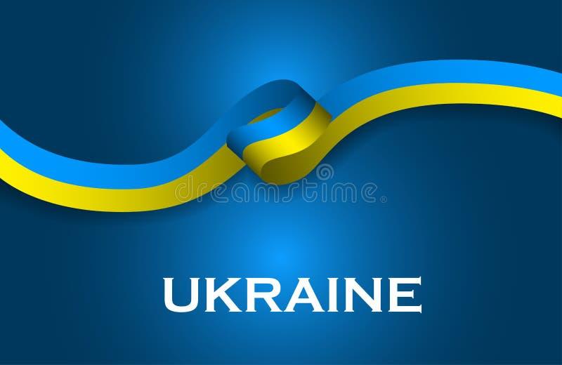 Ukraina luksusu stylu flaga klasyka tasiemkowy styl ilustracji