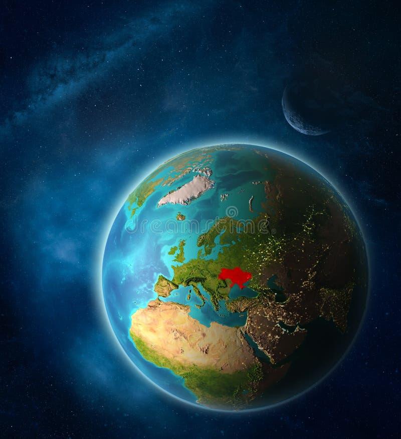 Ukraina na ziemi od przestrzeni ilustracja wektor