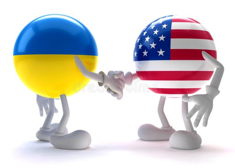 Ukraina och USA handskakning stock illustrationer