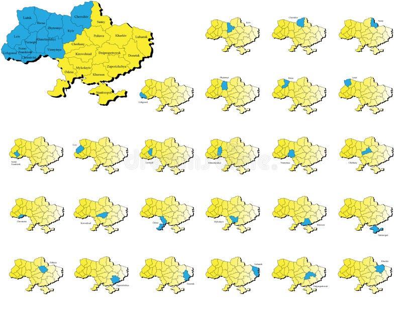 Ukraina prowincj mapy royalty ilustracja