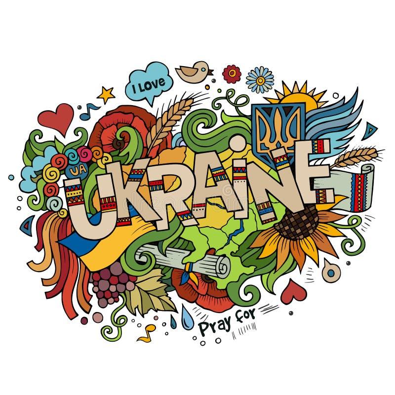 Ukraina ręki literowanie i doodles elementy ilustracja wektor