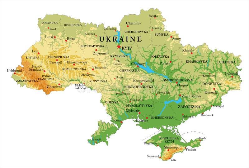Ukraina reliefowa mapa royalty ilustracja
