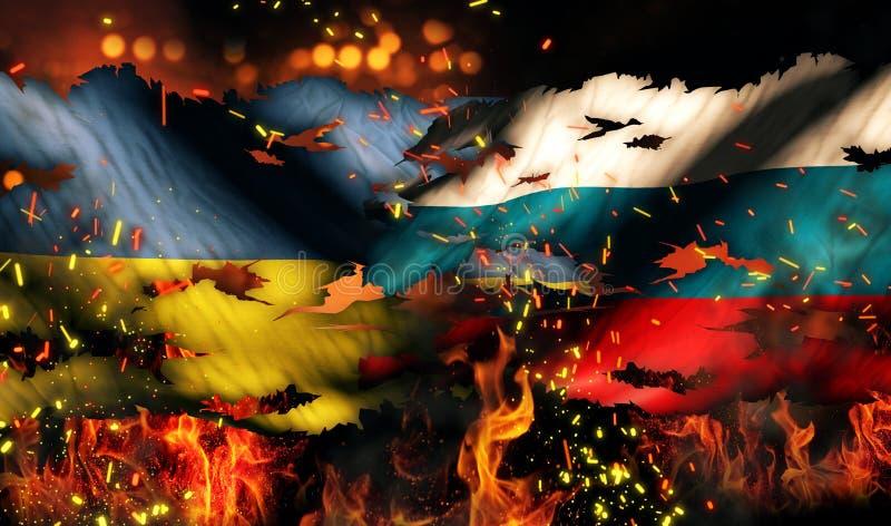 Ukraina Rosja flaga Wojenny Drzejący Pożarniczy Międzynarodowy konflikt 3D ilustracji