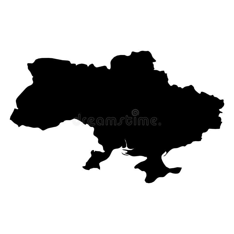 Ukraina - svart konturöversikt för heltäckande av landsområde Enkel plan vektorillustration stock illustrationer