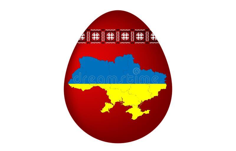 Ukrainareeaster ägg med den ukrainska prydnaden och översikten Ukraina arkivbild