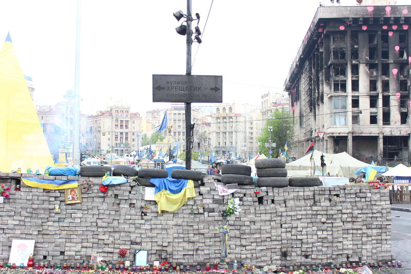 Download UKRAINE - APR 20, 2014: Downtown Of Kiev. Burned House Unions And Burnt Signboard Khreschatyk Street. Riot In Kiev And Weste Editorial Photo - Image: 40148261
