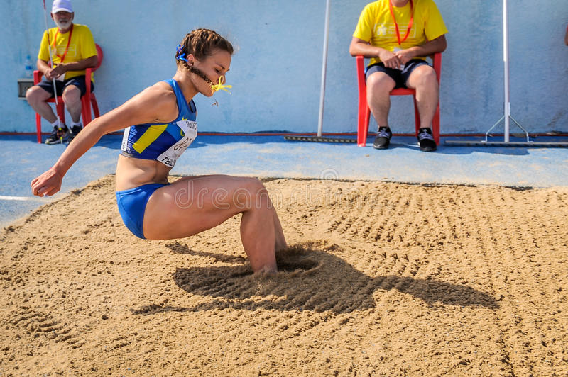 Ukraine athlete. ADAMCHUK Mariya from Ukraine during triple jump girls competition at the European Athletics Youth Championships in the Athletics Stadium stock photography