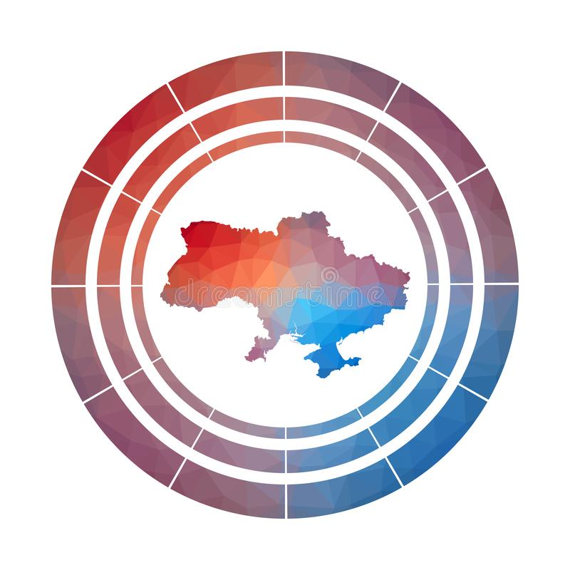 Ukraine badge. Bright gradient logo of country in low poly style. Multicolored Ukraine rounded sign with map in geometric style for your infographics stock illustration