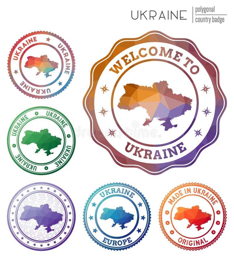 Ukraine badge. Colorful polygonal country symbol. Multicolored geometric Ukraine logos set. Vector illustration royalty free illustration
