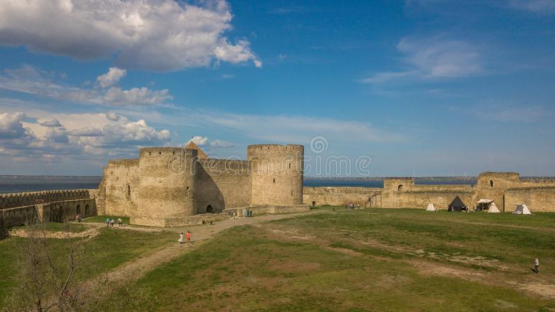 Ukraine. Belgorod-Dniester. View of the Akkerman fortress from the drone. Types of Ukraine. Tourism in the country. Ukraine. Belgorod-Dniester. View of the royalty free stock images