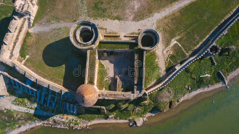 Ukraine. Belgorod-Dniester. View of the Akkerman fortress from the drone. Types of Ukraine. Tourism in the country. Ukraine. Belgorod-Dniester. View of the stock images
