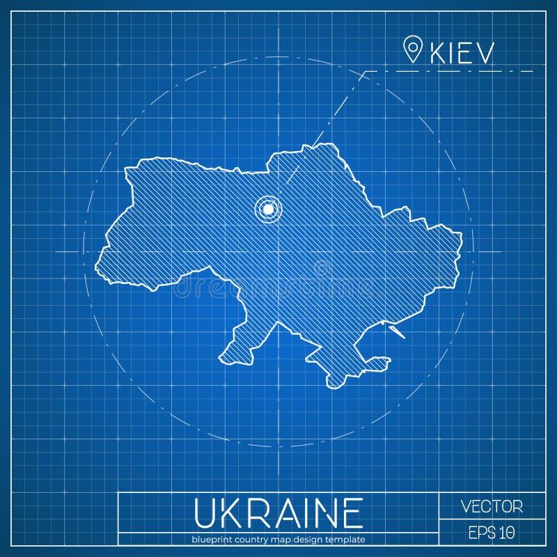 Ukraine blueprint map template with capital city. Kiev marked on blueprint Ukrainian map. Vector illustration royalty free illustration