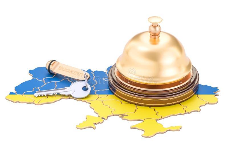 Ukraine booking concept. Ukrainian flag with hotel key and reception bell, 3D rendering. Ukraine booking concept. Ukrainian flag with hotel key and reception vector illustration
