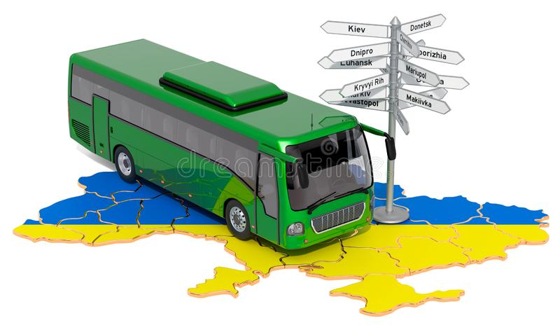Ukraine Bus Tours concept. 3D rendering. Isolated on white background royalty free illustration