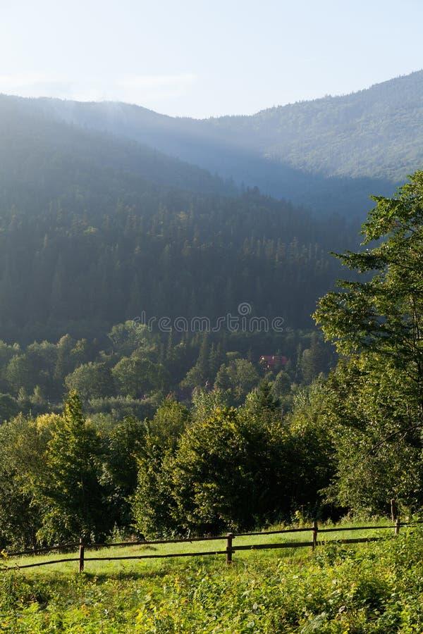 Ukraine Carpathians village air, amazing beautiful mountain background.  stock photography