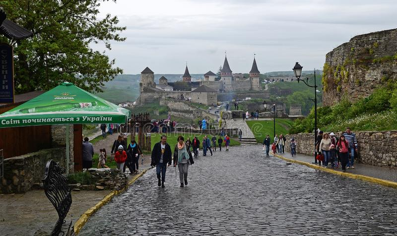 Ukraine, Kamyanets-Podilsky fortress in the rain on May 2, 2015 stock images