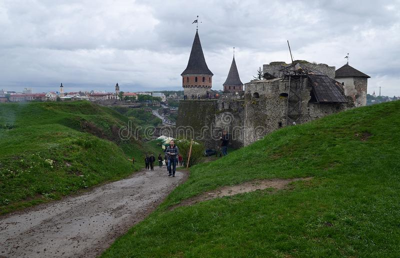 Ukraine, Kamyanets-Podilsky fortress in the rain on May 2, 2015 stock photos