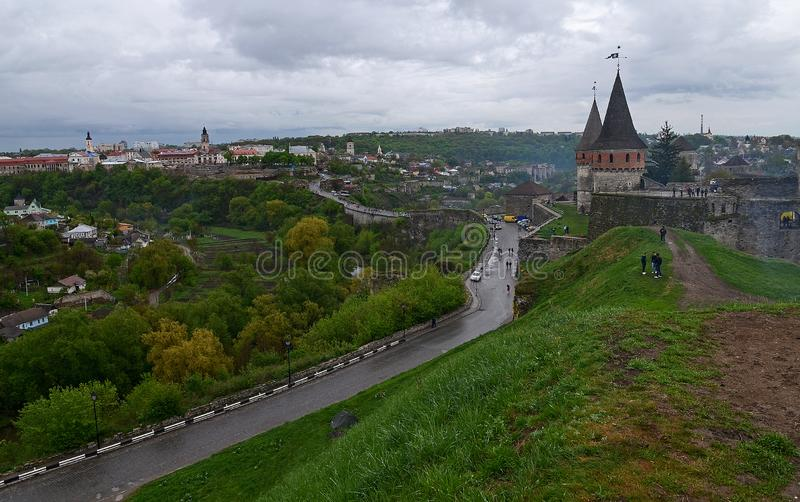 Ukraine, Kamyanets-Podilsky fortress in the rain on May 2, 2015 royalty free stock photo