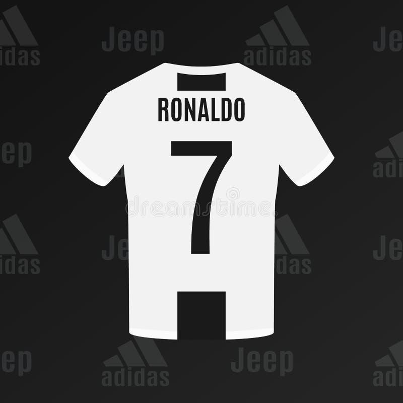 UKRAINE - CHERKASY JULY 17, 2018 Ronaldo`s Juventus football t-shirt stock illustration