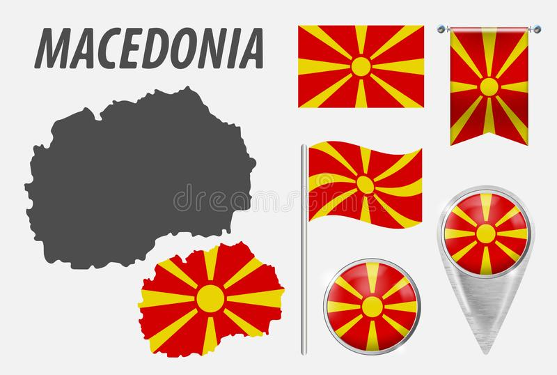 UKRAINE. Collection of symbols in colors national flag on various objects isolated on white background. Flag, pointer, button, royalty free illustration
