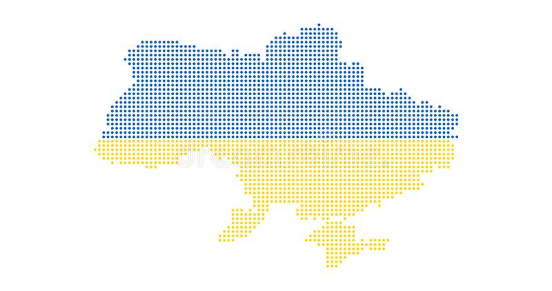 Ukraine country map made from abstract halftone dot pattern, Vector illustration isolated on white background. Ukraine country map made from abstract halftone royalty free stock image