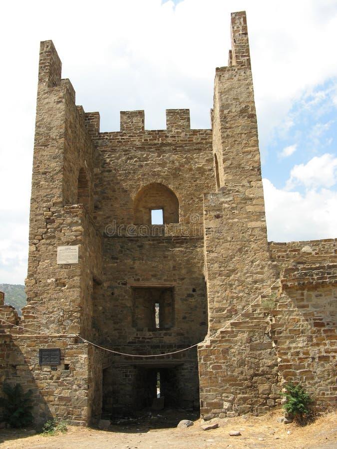ukraine crimea Genoese fästning i Sudak royaltyfri foto