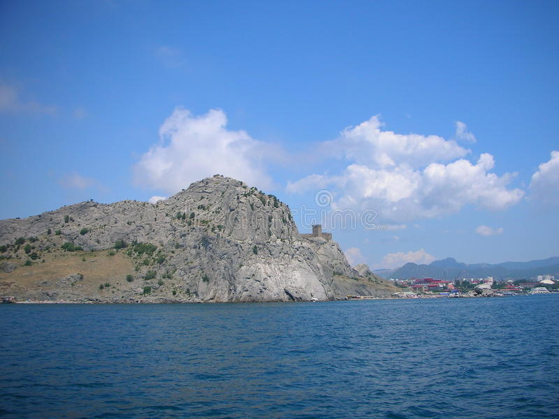 Ukraine. Crimean mountains. A boat trip on the Black Sea from Feodosia to the New World (Novyi Svet). On this stretch of coastline located Ordzhonikidze royalty free stock image