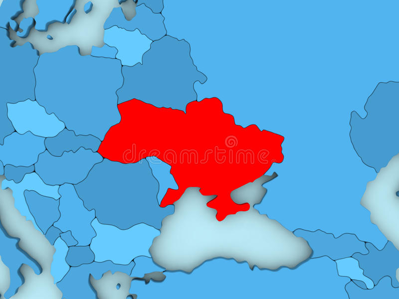 Ukraine on 3D map. Country of Ukraine highlighted in red on blue map. 3D illustration royalty free illustration