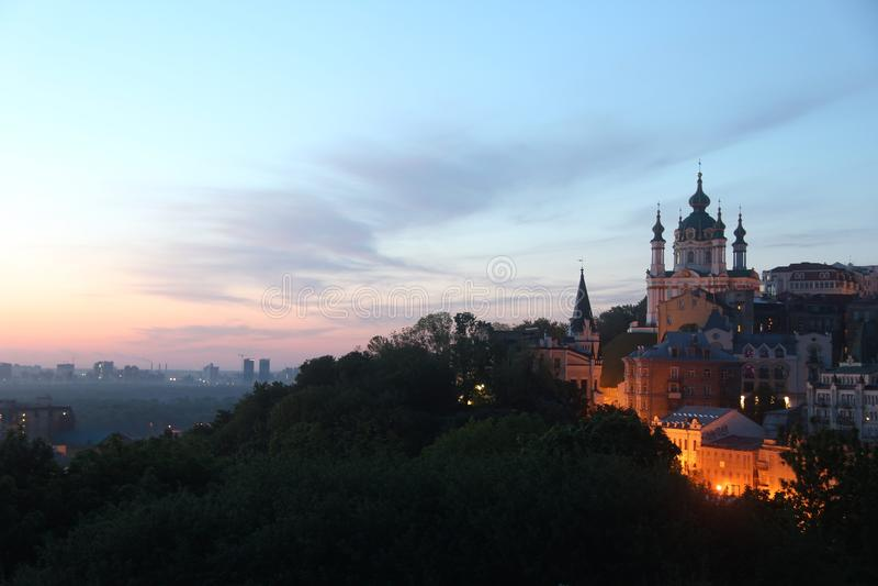 ukraine De stad van Kiev ST Andrew& x27; s Kerk Podilgebied royalty-vrije stock fotografie