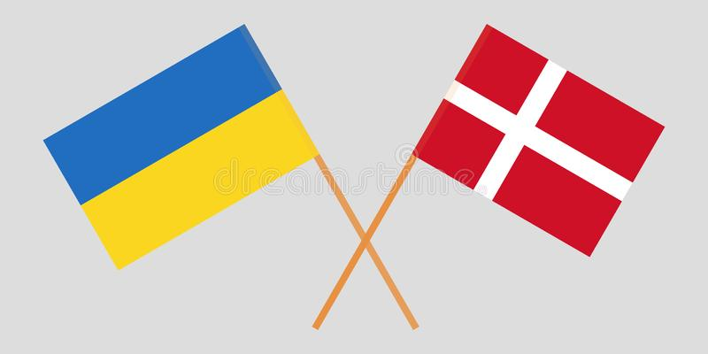 Ukraine and Denmark. Crossed Ukrainian and Danish flags. Official colors. Correct proportion. Vector. Illustration vector illustration