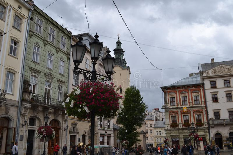 Ukraine die Stadt von Lemberg Ansicht der Stadt stockbild