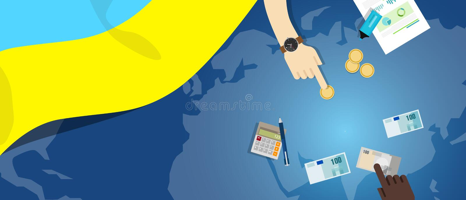 Ukraine economy fiscal money trade concept illustration of financial banking budget with flag map and currency. Vector stock illustration