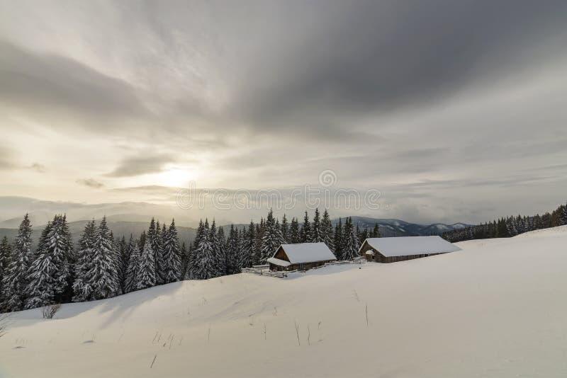 ukraine f?r dragobratliggandeberg vinter Gamla trähus på snöig röjning på bakgrund av bergkanten, den prydliga skogen och molnig  arkivbilder