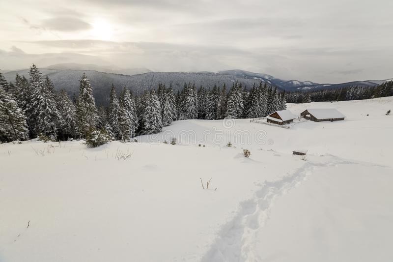 ukraine f?r dragobratliggandeberg vinter Gamla trähus på snöig röjning på bakgrund av bergkanten, den prydliga skogen och molnig  arkivfoton